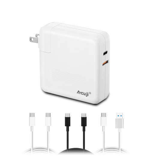 Atcuji 87MA PD Power Supply with 110W Power Delivery for Apple 87W USB-C Power Adapter MacBook Pro 87W USB C Charger MacBook Air Quick Charge iPhone X XS Max XR iPad QC 3.0 Samsung and more(UL Listed)